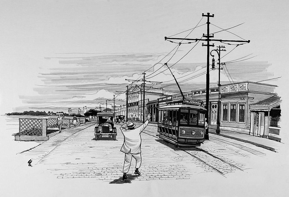 Avenida da Paz, início do século XX, em ilustração de Léo Villanova