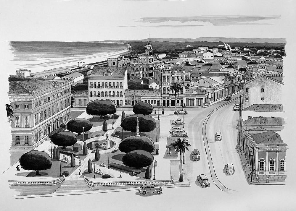 Praça D. Pedro II, Centro de Maceió, em meados da década de 1940