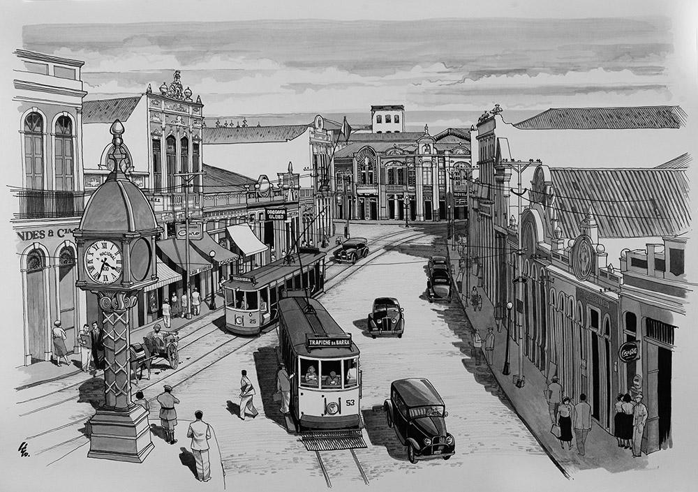 Rua do Comércio, Centro de Maceió, retratada como existiu na década de 1940