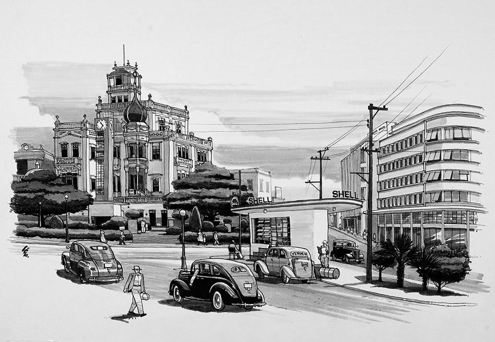 Praça dos Palmares no final da década de 1940, onde se localizava o Hotel Bella Vista, considerado por muito tempo a construção mais bela da cidade